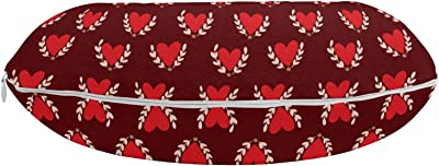 """Lunarable Romantic Travel Pillow Neck Rest, Love Theme Hearts Growing Leaves Retro Romance Valentines Birthday, Memory Foam Traveling Accessory for Airplane and Car, 12"""", Vermilion Burgundy Beige"""