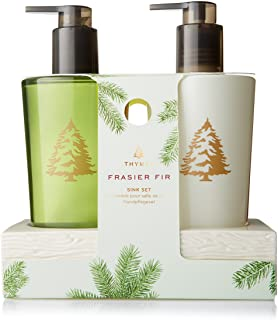 Thymes Frasier Fir Sink Set with White Ceramic Caddy