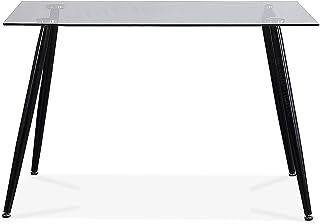 Adec - Suecia Mesa de Comedor Mesa Salon Fija Color Cristal y Negro Medidas: 120 cm (Largo) x 80 cm (Ancho) x 75 cm (Alto)