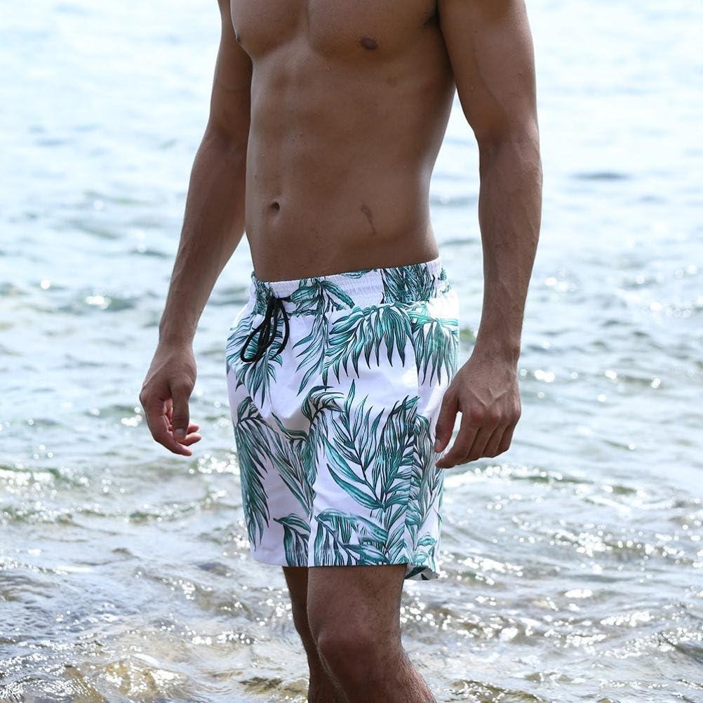 RAISINGTOP Men Sports Tropic Hawaii Quick Dry Beach Shorts Tropical Above Knee Bermudas Trunks Board Pants Indoor