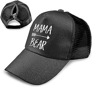 315b9737894b24 Kfrfa Mama Bear Trend Glitter Baseball Cap for Women's High Ponytail Messy  Bun Trucker Hat