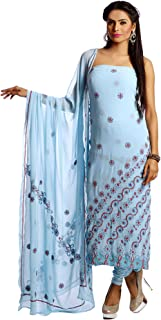 SKY BLUE GEORGETTE 2 PC SUIT WITH CHIKANKARI & ZARDOZI WORK