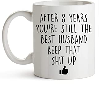 YouNique Designs 8 Year Anniversary Coffee Mug for Him, 11 Ounces, 8th Wedding Anniversary Cup For Husband, Eight Years, Eighth Year, 8th Year