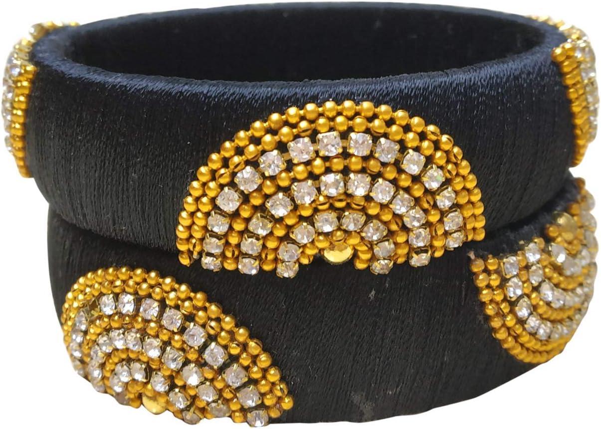GOELX Festive Offer: Designer Handcrafted Ethnic Half Moon Silk Thread Bangles for Women in Black - 2.8