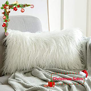 MIULEE Decorative New Luxury Series Style Christmas White Faux Fur Throw Pillow Case Cushion Cover for Sofa Bedroom Car 12 x 20 Inch 30 x 50 cm