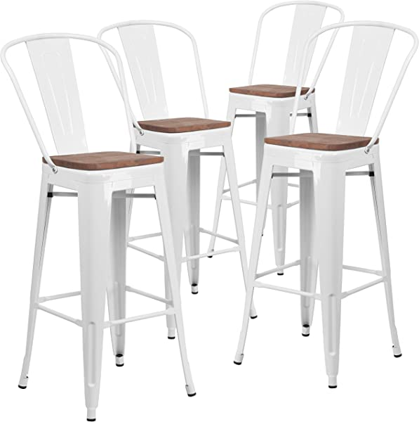 Taylor Logan 30 Inch High Metal Barstool With Back And Wood Seat Set Of 4 White
