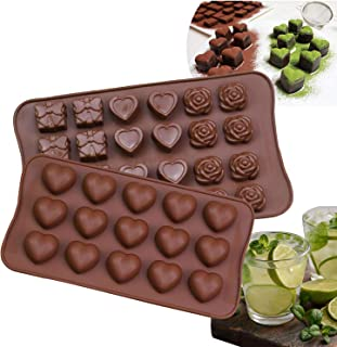 HomyPlaza Silicone Heart Rose Flower Silicone Chocolate Candles Cake Baking Mold Ice Cubes Tray for Birthday Engagement Anniversary Wedding