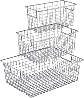 EZOWare Wire Metal Storage Organizer/Bin Baskets with Handles for Kitchen Bathroom Pantry Cabinets - Set of 3, Silver