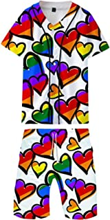 HoneyStore Men's LGBT Print T-Shirt Shorts Sets Casual Sport 2 Pieces Tracksuit Outfits