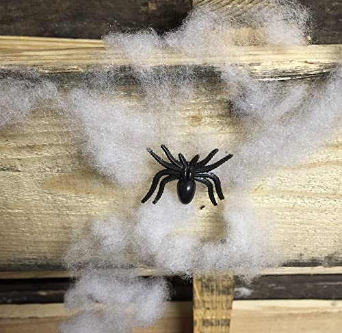 Halloween Spiders with Webbing- 10 Spiders with Individual Webs- Halloween, Decor, Spooky, Decoration, Spiderweb, by Halloween Decor Co.