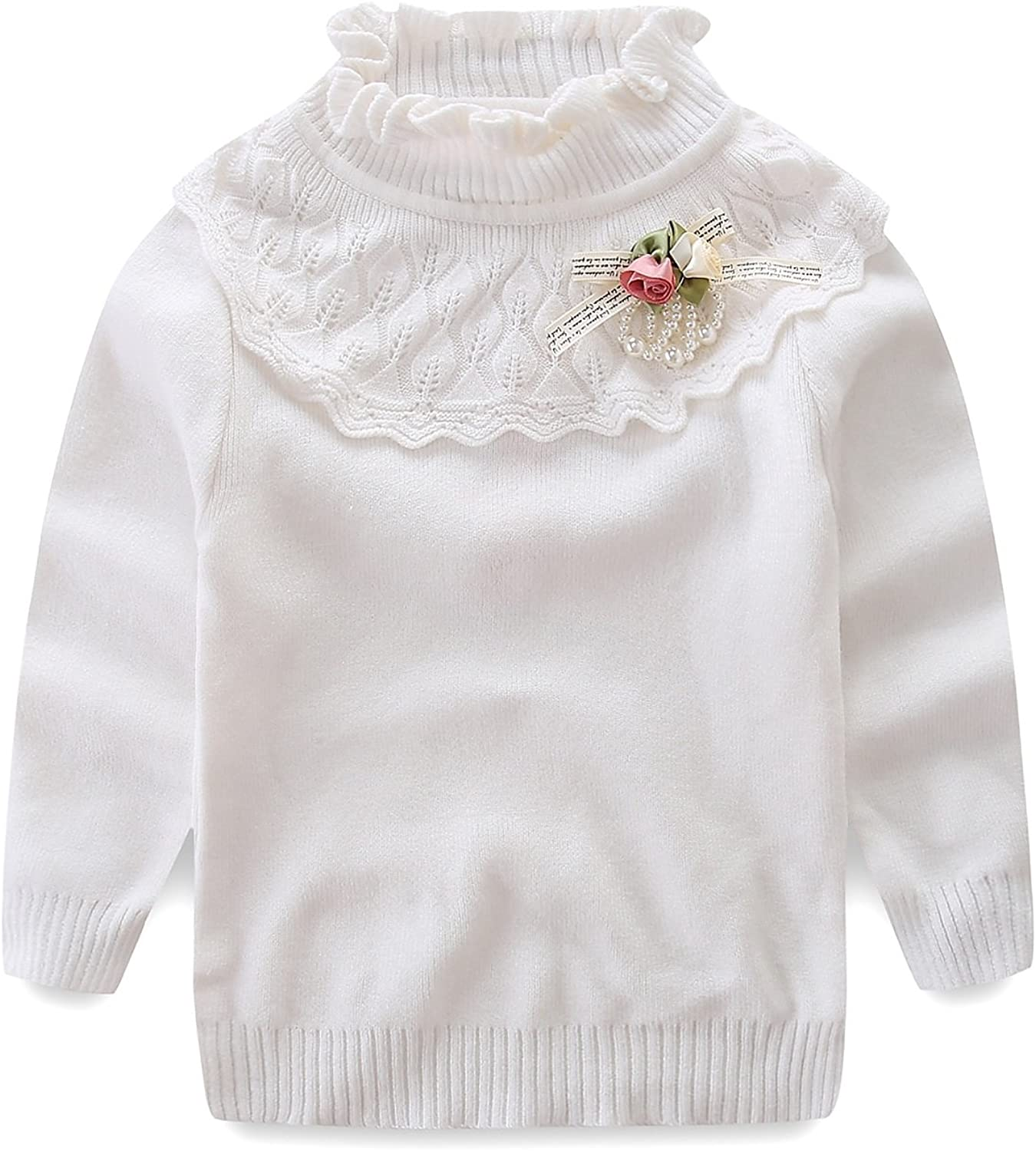 Little Girl Turtleneck Lace Sweater Autumn/Winter Knit Pullover 4T White