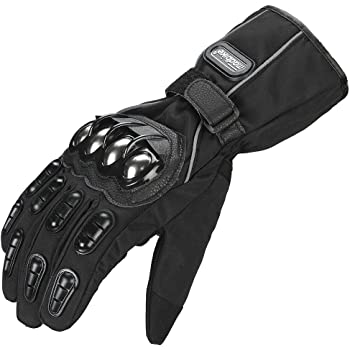 ILM Alloy Steel Touchscreen Motorcycle Riding Gloves MX MX ATV MTB Racing Mountain Bike Bicycle Cycling Dirt Bike Gauntlet Warm Waterproof Windproof for Winter Use (L, BLACK(WINTER))