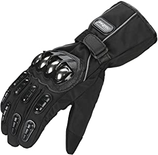 ILM Alloy Steel Motorcycle Riding Gloves Warm Waterproof Windproof for Winter Use (XL, BLACK(WINTER))