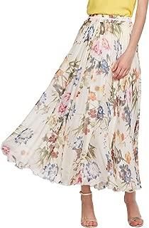 Women's Elegant Summer Full Length Boho Floral Print Pleated Chiffon Long Maxi Skirt Dress