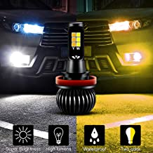 H11 H8 H9 Led Fog Light Bulbs,Dual Color 3000K Amber Yellow 6000K White foglamp NOT Headlight - 1 Years Warranty