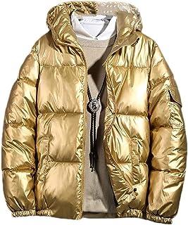 Jofemuho Men Thicken Winter Warm Full-Zip Faux Fur Hooded Down Quilted Coat Jacket Overcoat