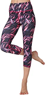 Whitewed Women's 3/4 Patterned Cropped Capri Yoga Workout Leggings Bottoms Pants
