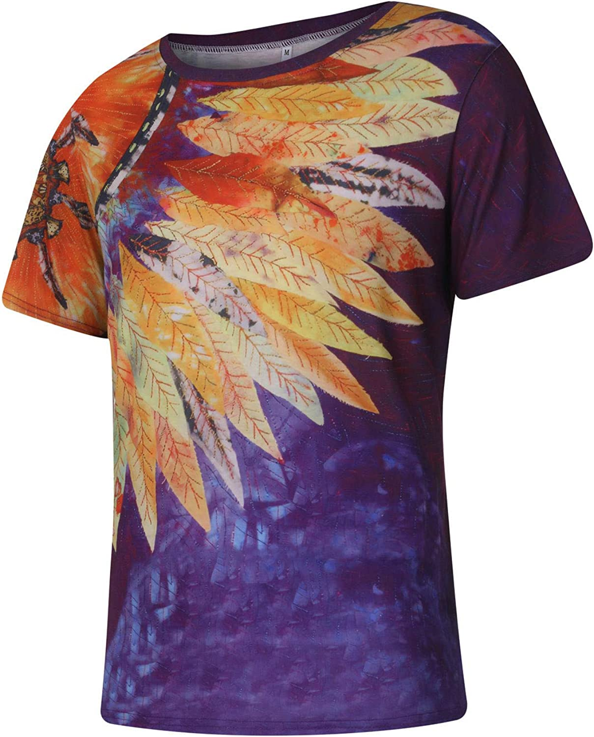 FUNEY Mens Graphic Tees Summer Trendy Short Sleeve Sunflower Workout Shirts Fashion 3D Print Tie Dye Mens Shirts Casual