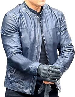 Mens Celebrity Blue Biker MI Fallout Leather Jacket