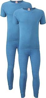 Heatwave® Pack of 2 Men's Thermal Underwear Set, 2 x T-Shirt & Pants Baselayer Set, S M L XL XXL Thermals