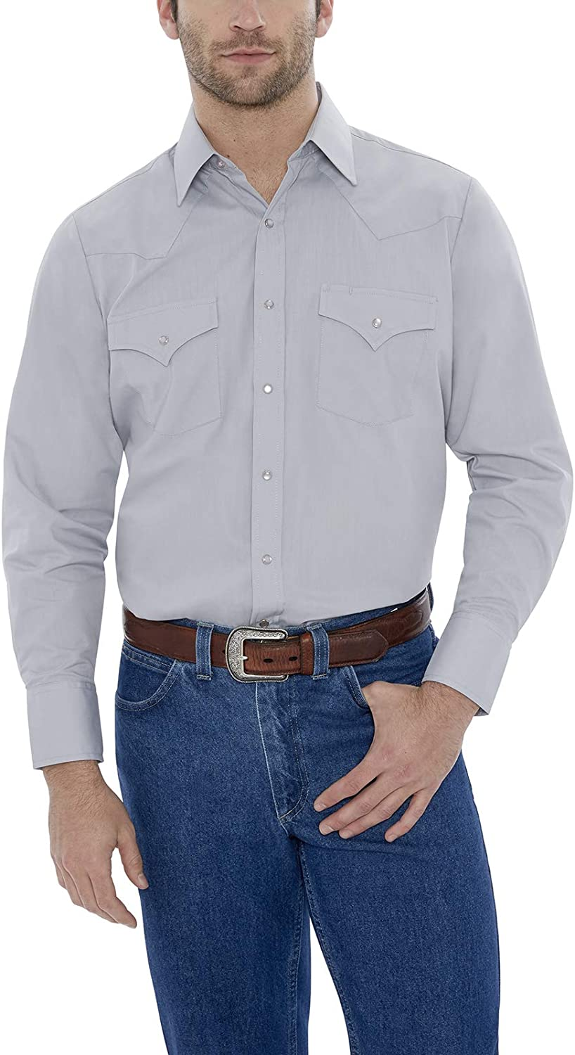 ELY CATTLEMAN Men's Size Long Sleeve Solid Western Shirt-Tall