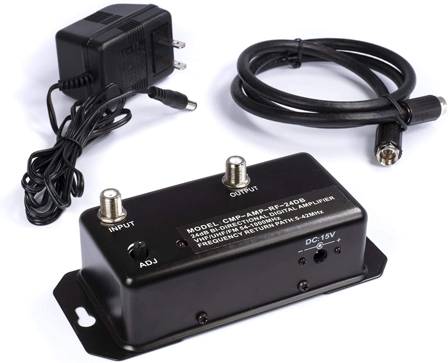 24db Distribution Amplifier - Digital TV Antenna Booster Signal Amplifier, Adjustable Boost/Gain, NTSC, ATSC, FM, UHF, VHF - 1000 MHz - Includes RG6 Coaxial Cable
