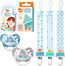Ulubulu Little Genius and My Mom Rocks Designs/Boy Pacifier Clip Combo/Nasal Aspirator Boogie Buster and 10 Disposable Tips 6-18 Months B-MP-4-11-001