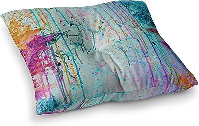 Kess InHouse EBI Emporium Too Much Happy 1 Red Teal Painting Round Floor Pillow 26