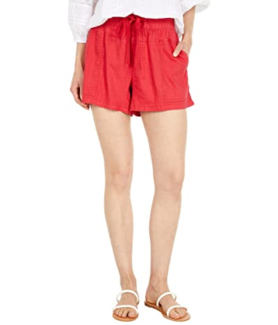 KUT from the Kloth Smocked Waistband Stretch Linen Shorts with Drawcord Porkchop Pockets
