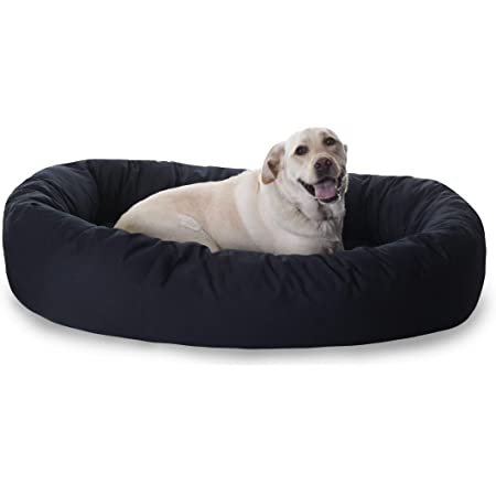 Majestic Pet Poly-Cotton Bagel Dog Bed for Dogs & Cats, Calming Round Donut Dog Bed Cuddler Washable Multiple Sizes & Colors