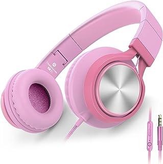 AILIHEN C8 Auriculares para niñas con micrófono y Control de Volumen Auriculares Ligeros Plegables para tabletas iPad Smartphones Computadora portátil PC