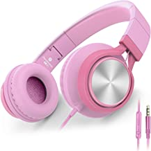 AILIHEN C8 Girls Headphones with Microphone and Volume Control Folding Lightweight Headset for Cellphones Tablets Smartphones Laptop Computer PC Mp3/4 (Pink)