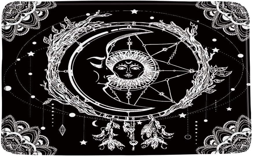AMFD Sun Moon Bath Mat Black Cre High order Celestial Purchase Mandala White Vintage
