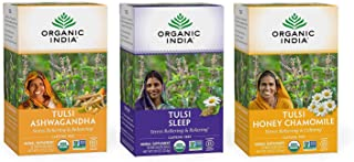 Organic India Calming Tulsi Herbal Tea Favorites - Ashwagandha, Honey Chamomile, Sleep - Adaptogen, Vegan, Gluten-Free, US...