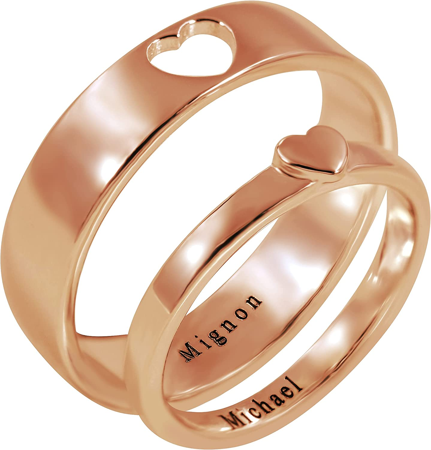 Gerryed Custom Matching Rings for Couples,Heart Promise Ring,Personalized Engagement Rings,Couple Rings,Mother Day Ring,Wedding Band Sets Anniversary Rings for Women/Men/Her/Him