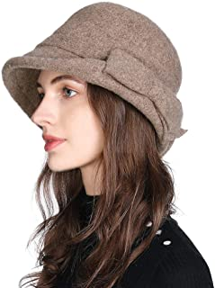 Jeff & Aimy Women Winter Wool Bucket Hat 1920s Vintage Cloche Bowler Hat with Bow/Flower Accent