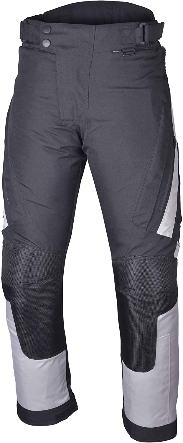 S-Short Black//Grey Motorcycle Textile Riding Pants with Removable CE Armor