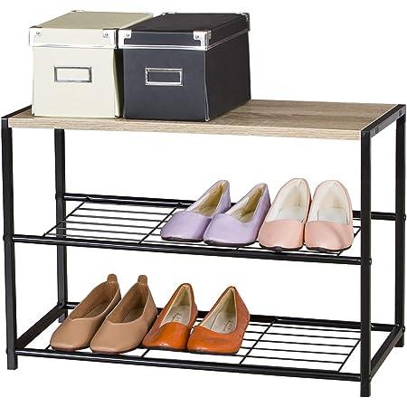 eSituro Organizador de Metal de Zapatos Con Banco Estanteria Zapatero 2 Niveles para Sala de Estar, Entrada, Patio Color Roble claro SSHR0038