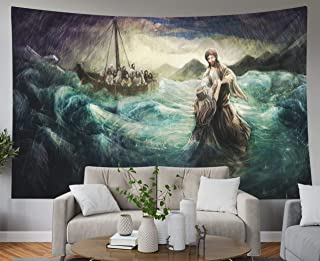 Shorping Blue Tapestries, 80x60Inches Hanging Wall Tapestry for Décor Living Room Dorm Christ Walk on Water