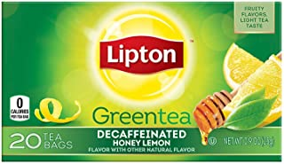Lipton Green Tea, Decaffeinated Honey Lemon Chamomile, 20Ct (Pack of 6)