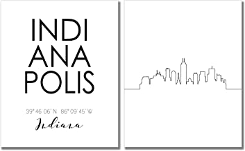 N&T Indianapolis City Skyline Wall Décor Prints - Set of 2 (8x10) Art Photos - Typography Minimalist Poster