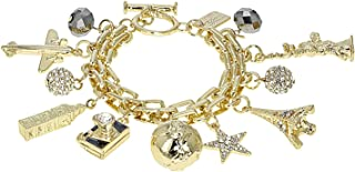 JTV-White Crystal Gold Tone Travel Charm Bracelet