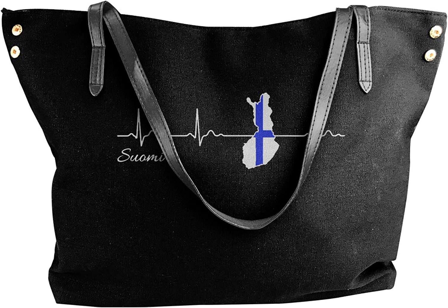 Finland Suomi Heartbeat Women'S Casual Canvas Shoulder Bag For Work Work Bag