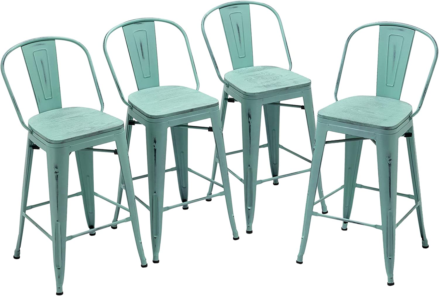 Yongqiang Metal Bar Stools Set of 4 OFFicial mail order B Chairs High Industrial Special price for a limited time
