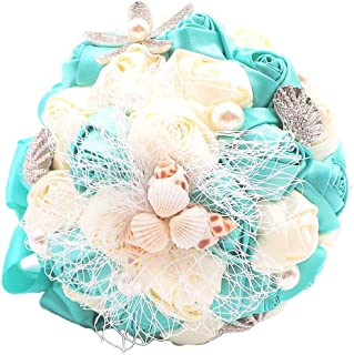 Abbie Home Beach Wedding Bridal Bouquet Holding Tossing Flower with Pearl Seashell and Rhinestone Decoration-Turquoise