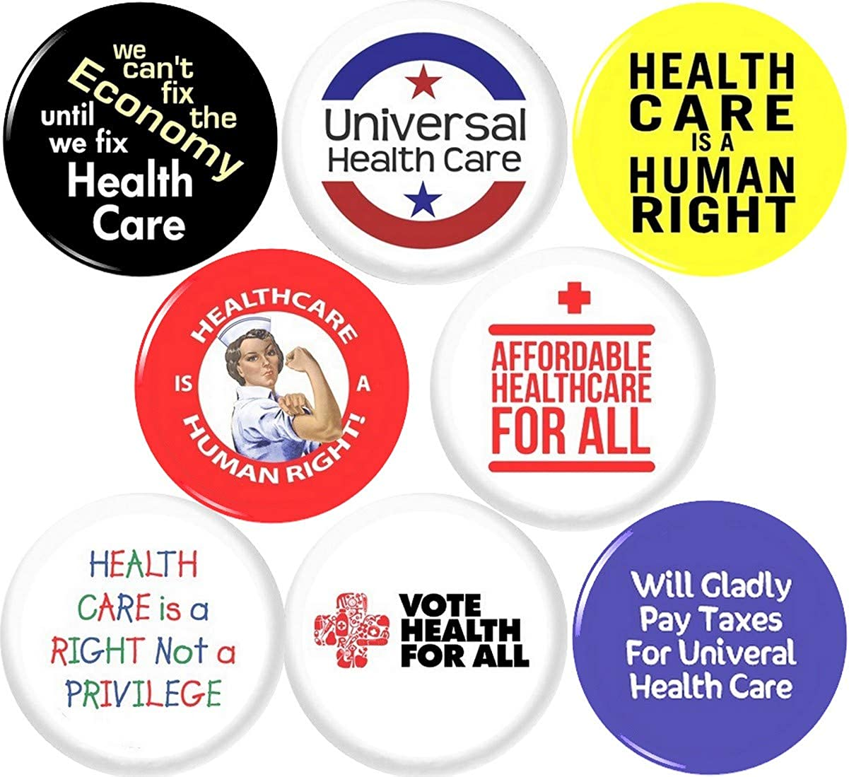 Universal Health Care 8 New 1 Branded goods 25mm of security Inch Pinback Set Butto