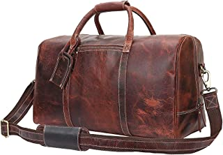 Leather Travel Duffel Bag Overnight Weekend Luggage Carry On Underseat Airplane (Dark Brown)
