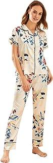 Shein Women's Floral Print Pocket Long Sleeve Satin Pajama Set Sleepwear
