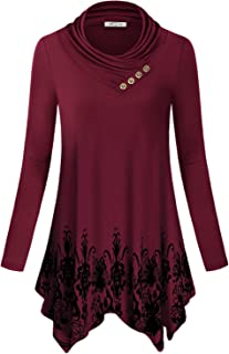 SeSe Code Women's Cowl Neck Long Sleeve Asymmetric Boho Floral Tunic Blouse(FBA)