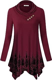 Women's Cowl Neck Long Sleeve Asymmetric Boho Floral Tunic Blouse(FBA)